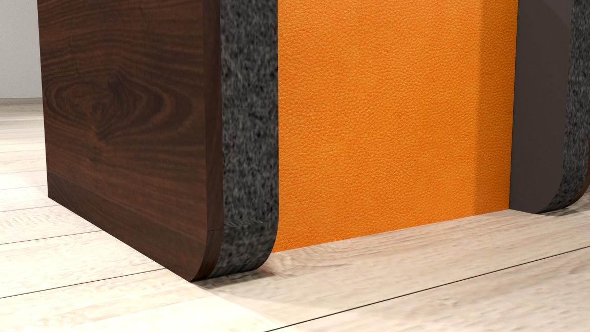 Detail Kombimöbel Sessel und Tisch