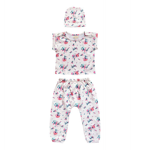 Moon Paris Baby Jersey Set Pink Flowery Bird