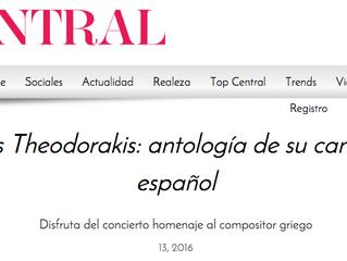 Concierto-Homenaje a Mikis Theodorakis: Artículo en la Revista Central