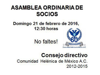 Asamblea Ordinaria de Socios: Invitación