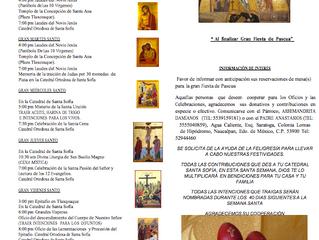 Invitación: Semana Santa en Catedral Santa Sofía