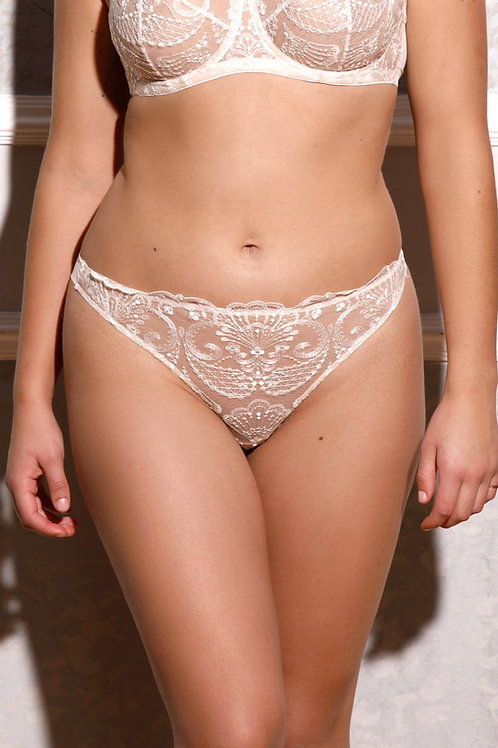 Spotlight embroidered thong - ivory
