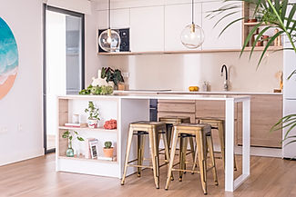 Interior Design project in Villaverde, Fuerteventura. Kitchen with island. Neutral colours for a scandinavian style house.