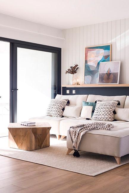 Noogar, Villa en Casilla de Costa, Villaverde - Fuerteventura. Salón de estilo industrial chic con sofá modular.