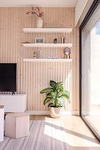 Scandinavian Living room. Salón de estilo nórdico con madera natural y colores neutros en Villaverde, Fuerteventura.