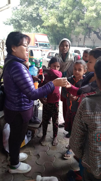 Medicine distribution to street families