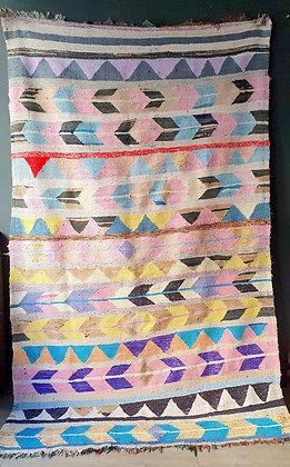Grand tapis Boucherouite 152cm x 245 cm vintage en coton recyclé