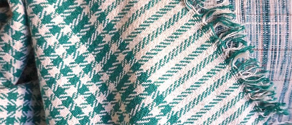 Couverture indienne PONDI en coton Khadi ( vert )
