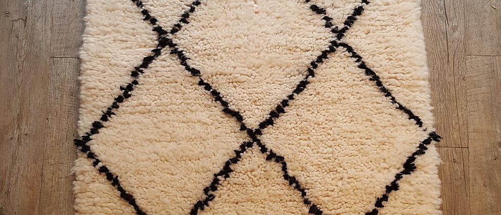 Petit tapis berbère Beni Ouarain authentique , Maroc 0.60x110cm