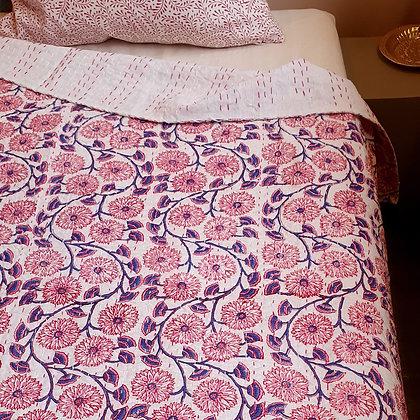 """Grand couvre lit Kantha 220 x 260 cm """"ARUNA"""", imprimé à la main"""