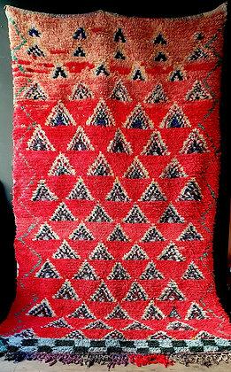 Tapis Boucherouite 156 cm x 258 cm vintage en coton recyclé
