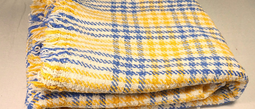 Couverture PONDI en coton Khadi ( jaune & bleu )