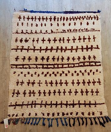 Tapis Azilal vintage 100% laine, Maroc 108x125cm