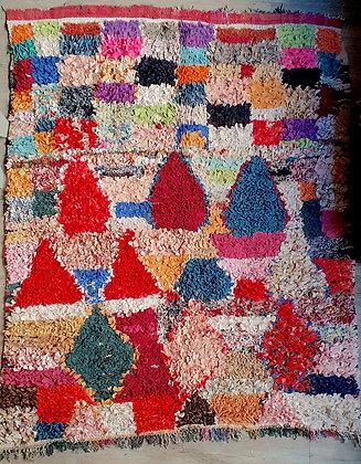 Tapis Boucherouite 140 x 176 cm vintage en chutes de vêtements recyclés