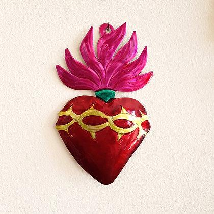 Coeur flamme - Ex-voto Méxicain (#104)