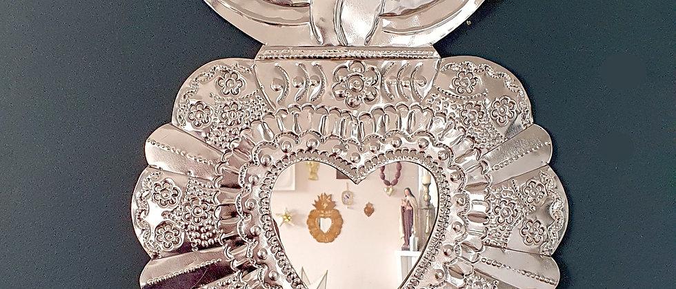 """Grand miroir Ex-voto Méxicain, """"MI AMOR"""" (#55)"""