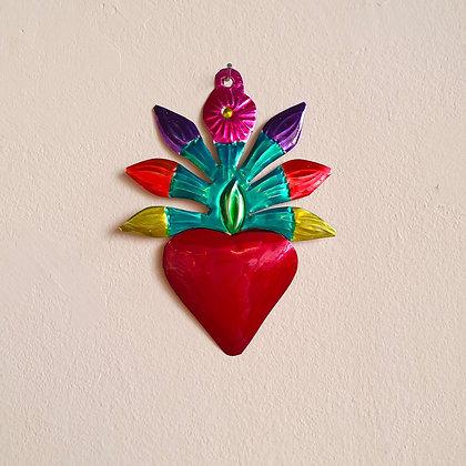 Coeur fleuri Ex-voto Méxicain (#105)