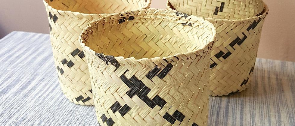 """Cache-pot """"OASIS"""" en feuilles de palmier dattier"""