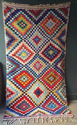 Tapis Boucherouite 140 x 265 cm vintage en coton recyclé
