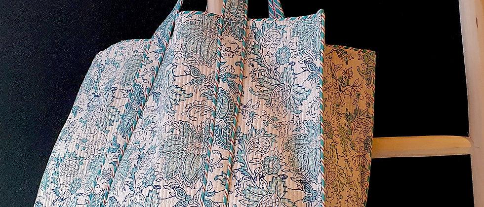 """Cabas """"JAIPUR in BLUE"""" en coton matelassé, imprimé au block-print"""