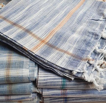 Serviette de yoga SUN bleue en coton Khadi