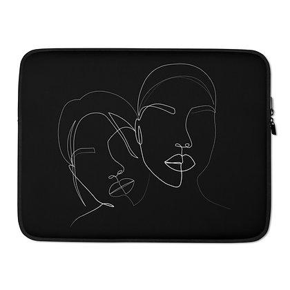 Line art two faces black Laptop Sleeve