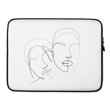 Line art Two faces white Laptop Sleeve