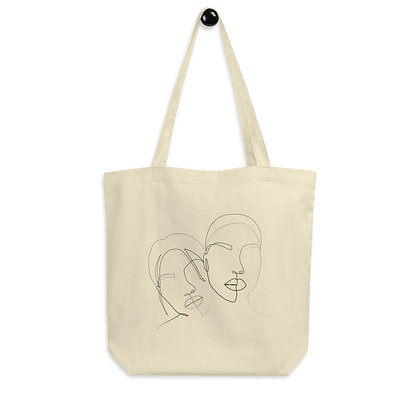 Line art two faces Eco Tote Bag