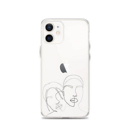 Line art two faces iPhone 12 Case
