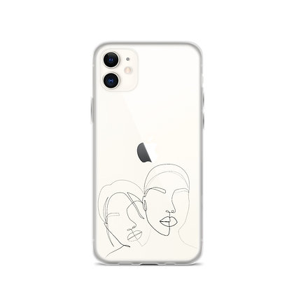 Line art two faces iPhone Case