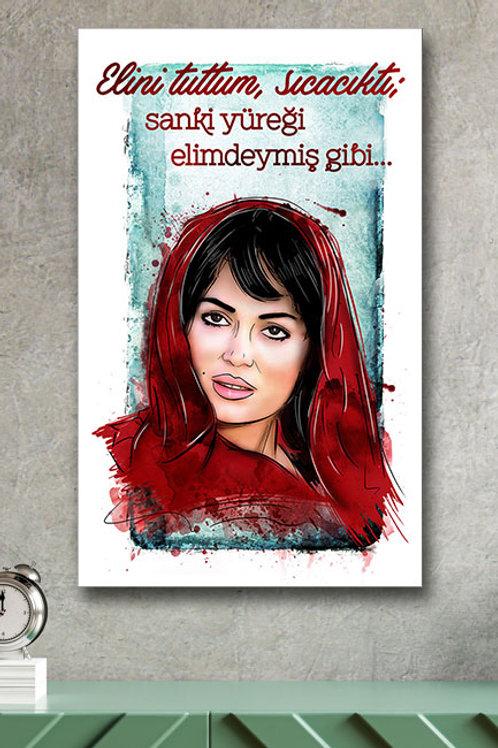 Elini Tuttum Sıcacıktı Alyazmalım Yeşilçam Retro Ahşap Poster 10x20