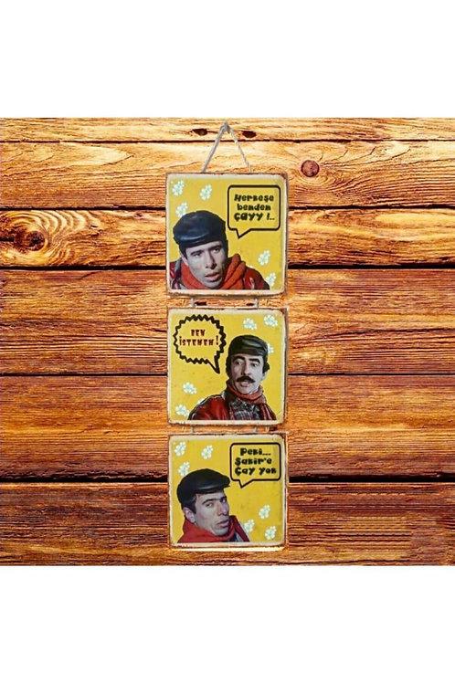 Herkese Benden Çay Şakir'e Çay Yok Yeşilçam Üçlü Ahşap Poster