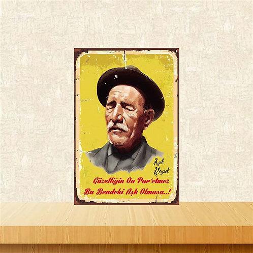 Aşık Veysel Retro Ahşap Poster 10x20
