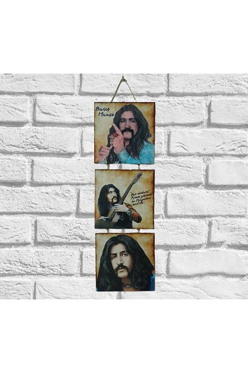 Barış Manço Üçlü Ahşap Poster