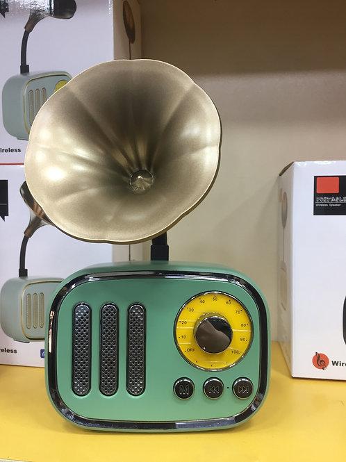 Retro Gramafon Kablosuz Bluetooth Su Yeşili Ses Bombası