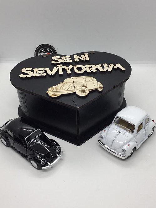 Sevgililer günü ahşap kutu tasarımlı 2li vosvos seti (Siyah beyaz)
