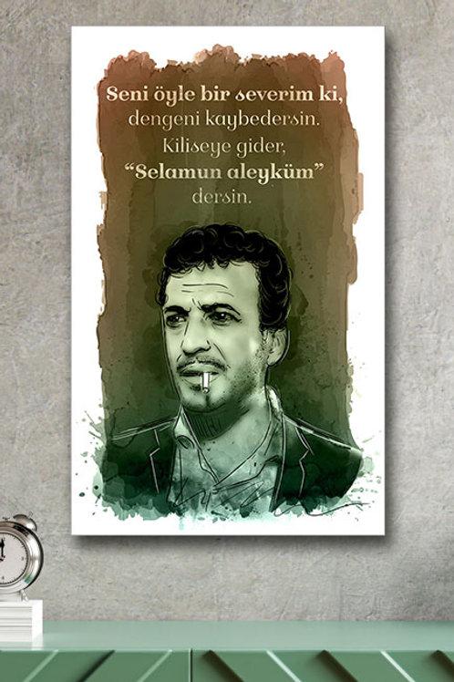 Seni Öyle Bir Severim Ki Sadri Alışık Yeşilçam Retro Ahşap Poster 10x20