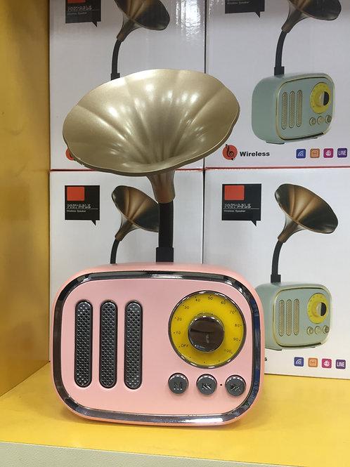 Retro Gramafon Kablosuz Bluetooth Pembe Ses Bombası