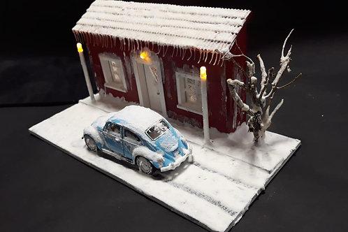 Kış Evi Maketi Işıklı