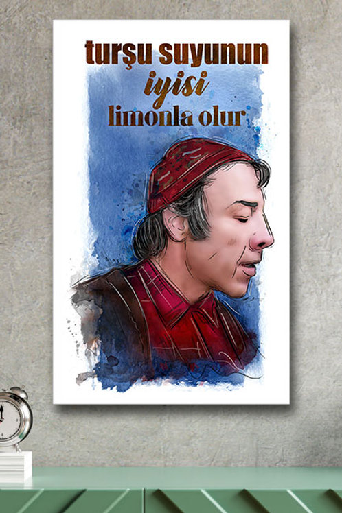 Turşu Suyunun Iyisi Limonla Olur Münir Özkul Yeşilçam Retro Ahşap Poster 10x20