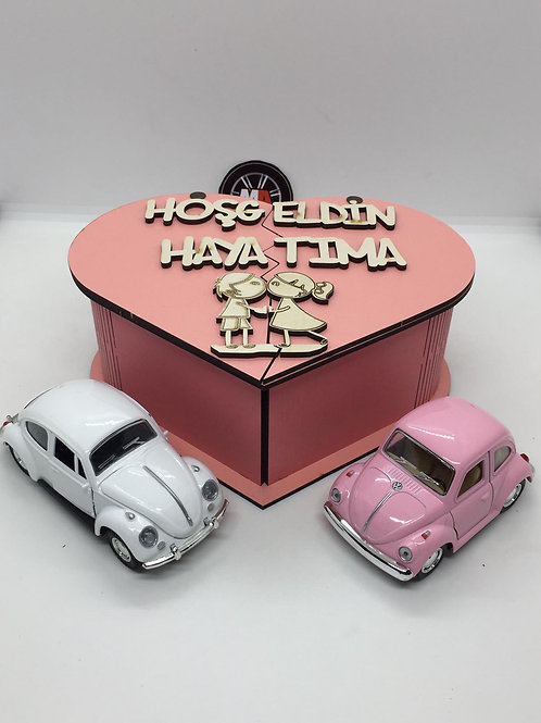 Sevgililer günü ahşap kutu tasarımlı 2li vosvos seti (Pembe)