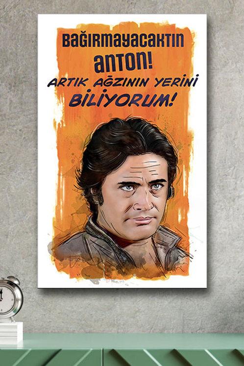 Cüneyt Arkın Anton Yeşilçam Retro Ahşap Poster 10x20