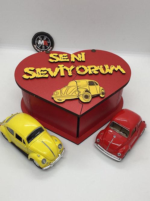 Sevgililer günü ahşap kutu tasarımlı 2li vosvos seti (Sarı Kırmızı))