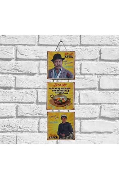 Bizimkiler Cafer Üçlü Ahşap Poster