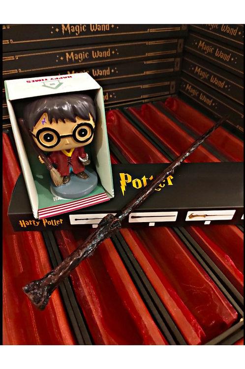 Harry Potter Metal Çekirdekli Asa ve Biblo Hediye Seti
