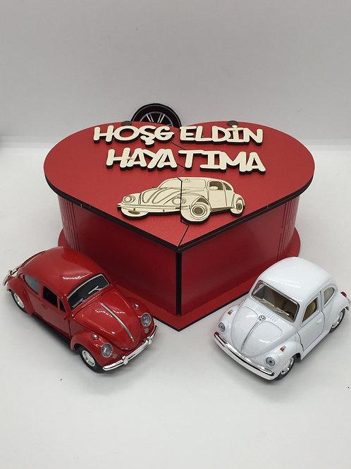 Sevgililer günü ahşap kutu tasarımlı 2li vosvos seti (kırmızı-beyaz)