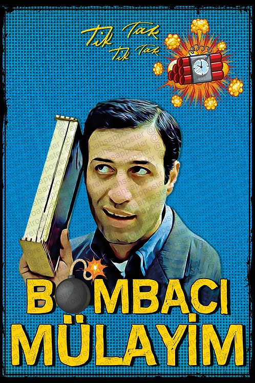 Kemal Sunal Bombacı Mülayim Yeşilçam Retro Ahşap Poster 10x20