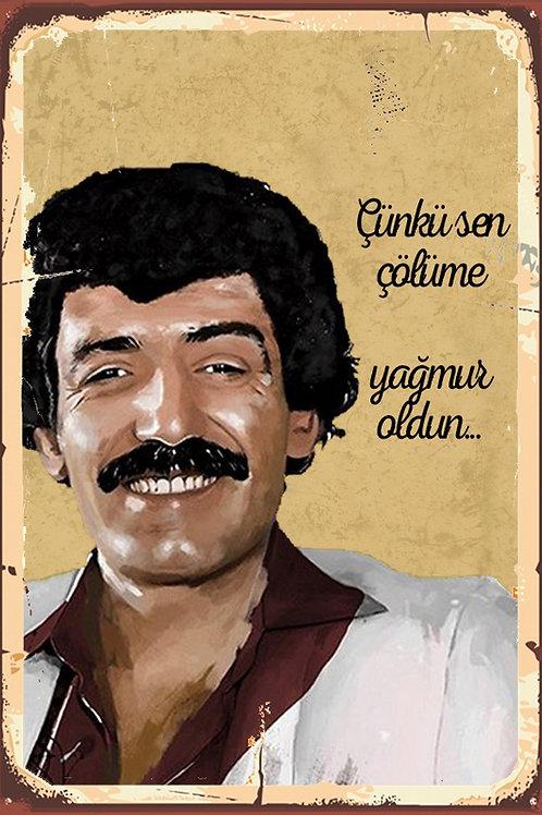 Müslüm Gürses Çünkü Sen Çölüme Yağmur Oldun Retro Ahşap Poster 10x20