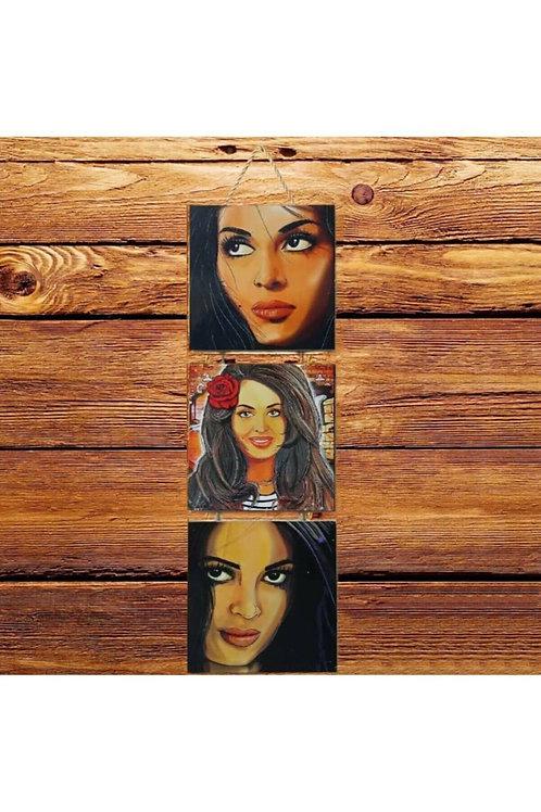 Türkan Şoray Üçlü Ahşap Poster