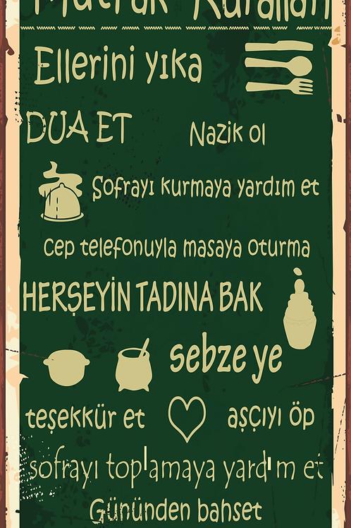 Mutfak Kuralları 1 Retro Ahşap Poster 10x20